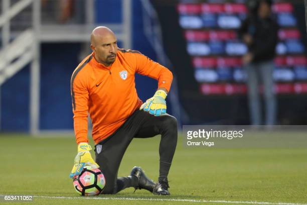 Oscar Perez goalkeeper of Pachuca controls the ball during the Pachuca training session at Toyota Stadium on March 14 2017 in Dallas United States
