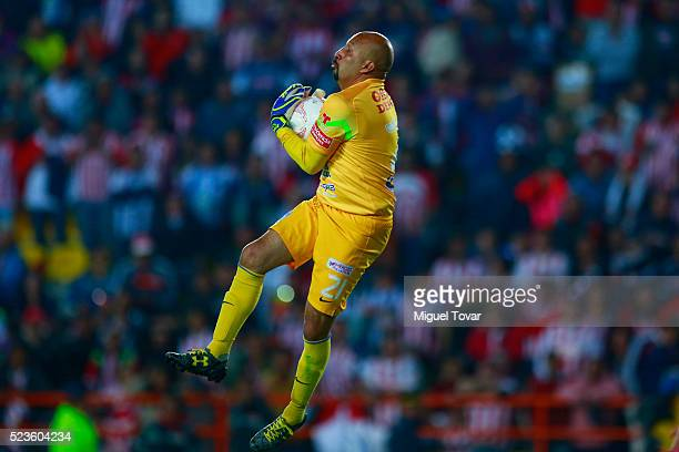 Oscar Perez goalkeeper of Pachuca jumps for the ball during the 15th round match between Pachuca and Chivas as part of the Clausura 2016 Liga MX at...