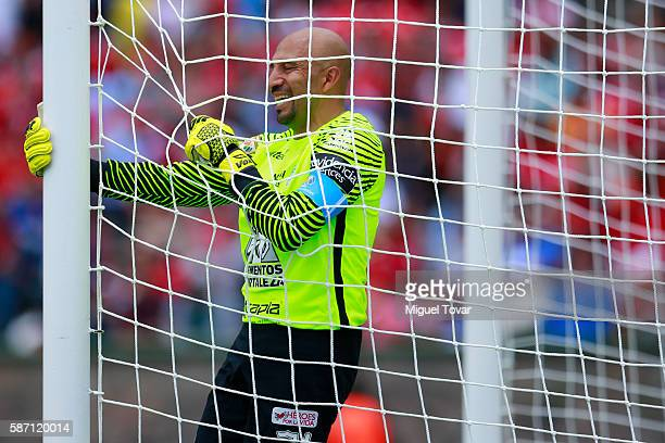 Oscar Perez goalkeeper of Pachuca reacts after blocking an attempt to score during the 4th round match between Toluca and Pachuca as part of the...