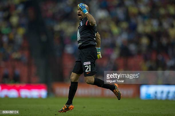 Oscar Perez of Pachuca celebrates after his team scored during the 3rd round match between America and Pachuca as part of the Clausura 2016 Liga MX...