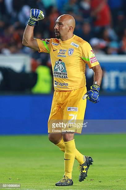 Oscar Perez of Pachuca celebrates after the third goal of his team during the quarter finals second leg match between Pachuca and Santos Laguna as...