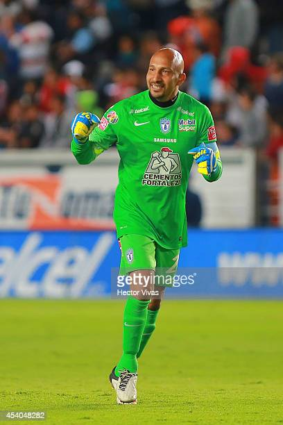 Oscar Perez of Pachuca celebrates the second scored goal of his team during a match between Pachuca and Atlas as part of 6th round Apertura 2014 Liga...