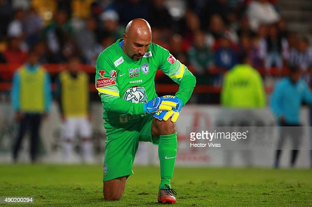 Oscar Perez of Pachuca reacts during a 10th round match between Pachuca and Santos Laguna as part of the Apertura 2015 Liga MX at Hidalgo Stadium on...