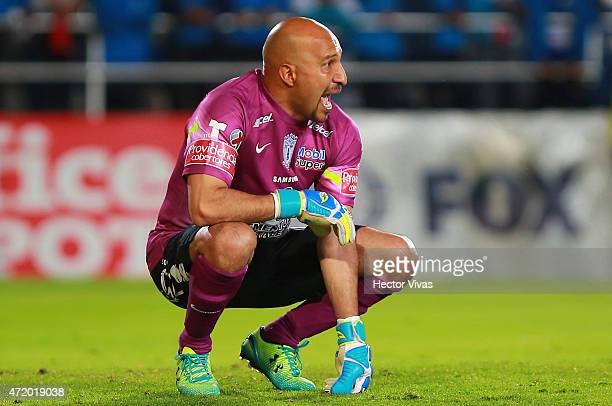 Oscar Perez of Pachuca reacts during a match between Pachuca and Santos Laguna as part of 16th round of Clausura 2015 Liga MX at Hidalgo Stadium on...