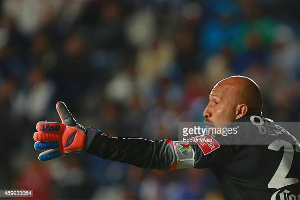Oscar Perez of Pachuca reacts during a quarterfinal first leg match between Pachuca and Tigres as part of the Apertura 2014 Liga MX at Hidalgo...