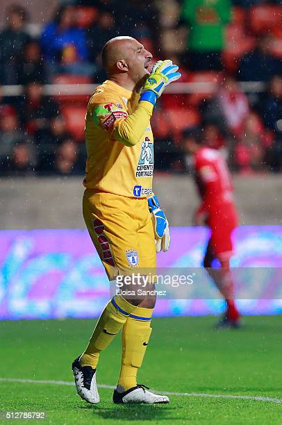 Oscar Perez of Pachuca reacts during the 8th round match between Toluca and Pachuca as part of the Clausura 2016 Liga MX at Nemesio Diez Stadium on...