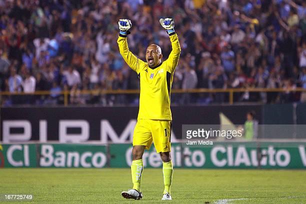Oscar Perez of San Luis celebrates a goal against Tijuana during a match between San Luis and Tijuana as part of the Clausura 2013 Liga MX at Alfonso...