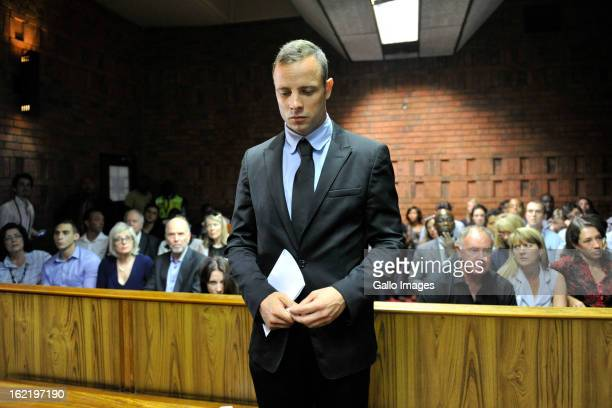 Oscar Pistorius appears for his bail hearing in the Pretoria Magistrate Court on February 20 2013 in Pretoria South Africa Oscar Pistorius who has...
