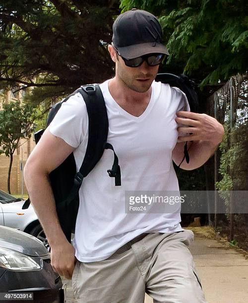 Oscar Pistorius arrives at Garsfontein police station to report for his community service on November 14 2015 in Pretoria South Africa The...