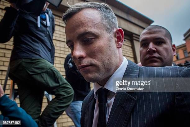 Oscar Pistorius arrives at North Gauteng High Court on June 13 2016 in Pretoria South Africa Having had his conviction upgraded to murder in December...