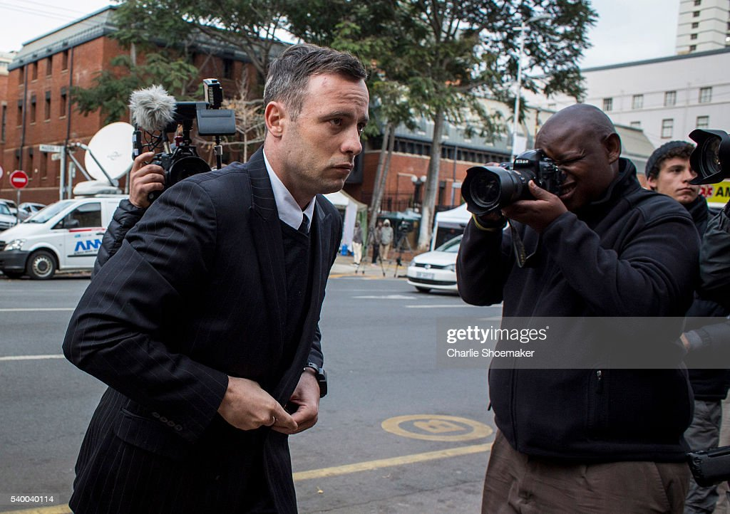 Oscar Pistorius arrives at North Gauteng High Court on June 14 2016 in Pretoria South Africa Having had his conviction upgraded to murder in December...