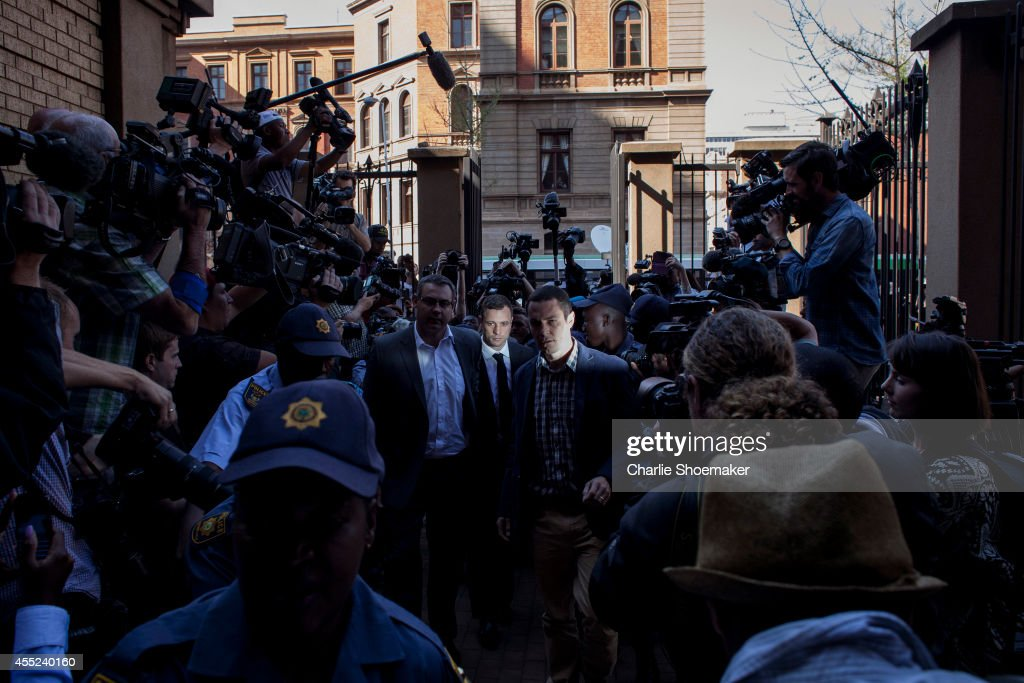 Oscar Pistorius arrives at the High Court on September 11 2014 in Pretoria South Africa South African Judge Thokosile Masipa is due to give her...