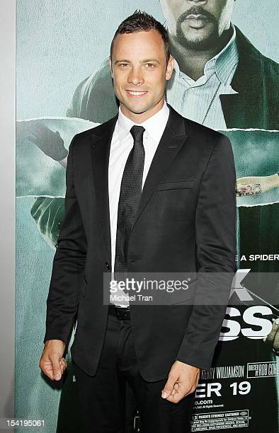 Oscar Pistorius arrives at the Los Angeles premiere of 'Alex Cross' held at ArcLight Cinemas Cinerama Dome on October 15 2012 in Hollywood California