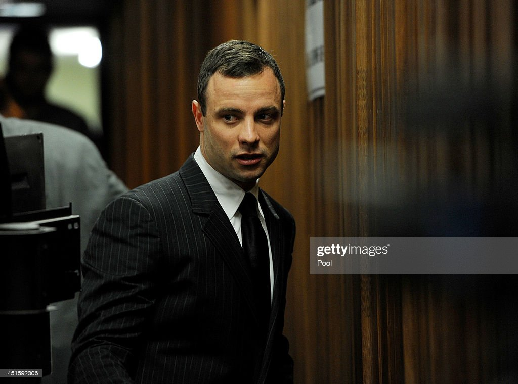 <a gi-track='captionPersonalityLinkClicked' href=/galleries/search?phrase=Oscar+Pistorius&family=editorial&specificpeople=224406 ng-click='$event.stopPropagation()'>Oscar Pistorius</a> arrives at the Pretoria High Court on July 2, 2014, in Pretoria, South Africa. <a gi-track='captionPersonalityLinkClicked' href=/galleries/search?phrase=Oscar+Pistorius&family=editorial&specificpeople=224406 ng-click='$event.stopPropagation()'>Oscar Pistorius</a> stands accused of the murder of his girlfriend, Reeva Steenkamp, on February 14, 2013. This is Pistorius' official trial, the result of which will determine the paralympian athlete's fate.