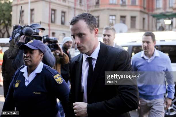 Oscar Pistorius arrives at the Pretoria High Court on July 7 in Pretoria South Africa Oscar Pistorius stands accused of the murder of his girlfriend...