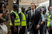 Oscar Pistorius arrives atNorth Gauteng High Court on October 15 2014 in Pretoria South Africa Pistorius will be sentenced having been found guilty...