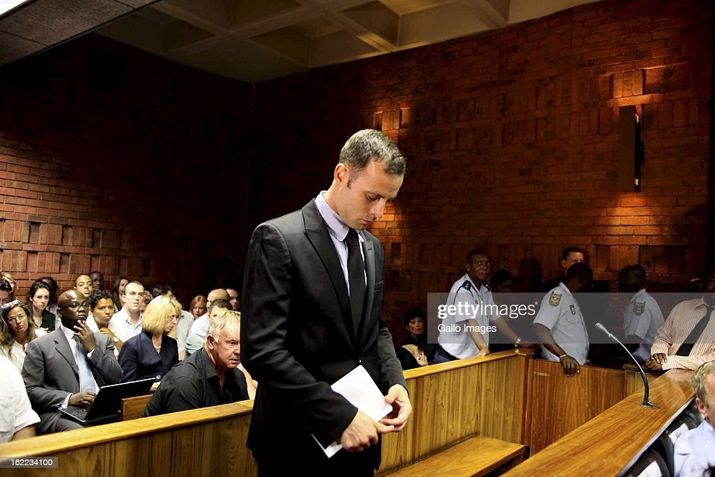 Oscar Pistorius at the Pretoria magistrate's court on February 20, 2013, in Pretoria, South Africa. Pistorius is accused of murdering his girlfriend, Reeva Steenkamp on February 14, 2013.