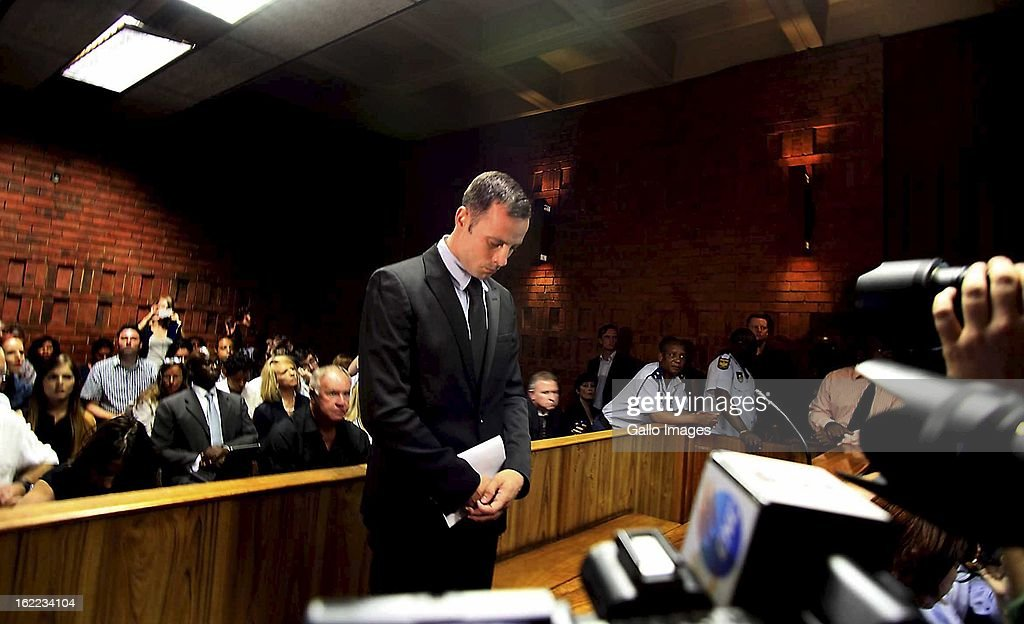 Oscar Pistorius at the Pretoria magistrate's court on February 20, 2013, in Pretoria, South Africa. Pistorius is accused of murdering his girlfriend, Reeva Steenkamp on February 14, 2013..