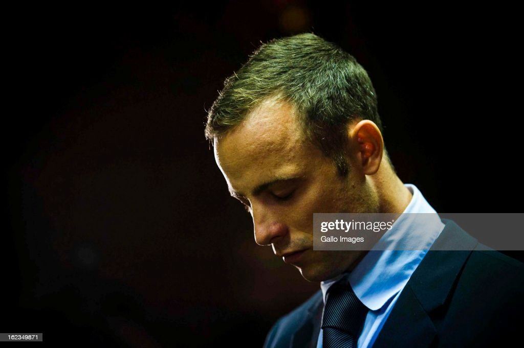 Oscar Pistorius at the Pretoria Magistrates court on February 22, 2013, in Pretoria, South Africa. Pistorius is accused of the murder of Reeva Steenkamp on February 14, 2013. This marks day 4 of his bail hearing