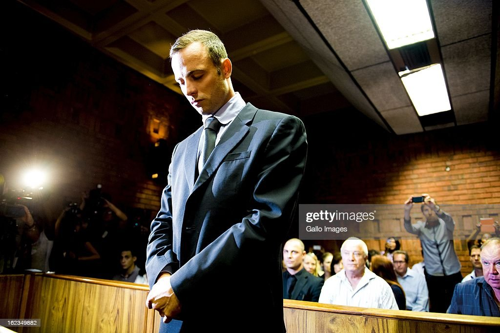 Oscar Pistorius at the Pretoria Magistrates court on February 22 in Pretoria South Africa Pistorius is accused of the murder of Reeva Steenkamp on...