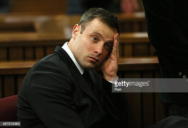 Oscar Pistorius attends his sentencing hearing in the Pretoria High Court on October 16 in Pretoria South Africa Judge Thokozile Masipa found...