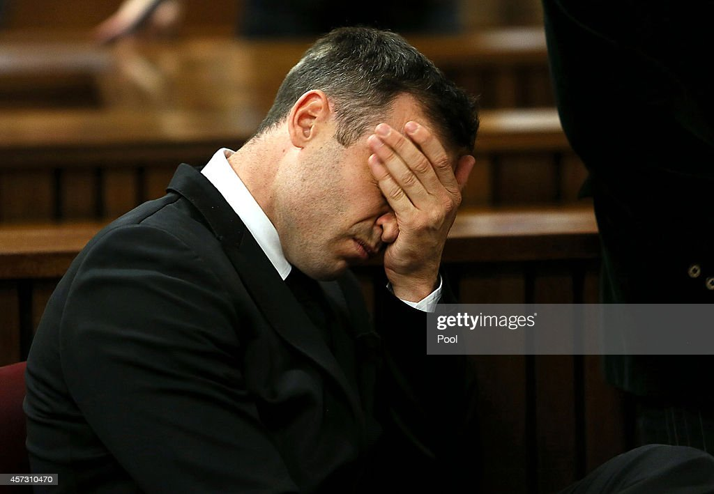 Oscar Pistorius attends his sentencing hearing in the Pretoria High Court on October 16 in Pretoria South Africa Judge Thokozile Masipa found...