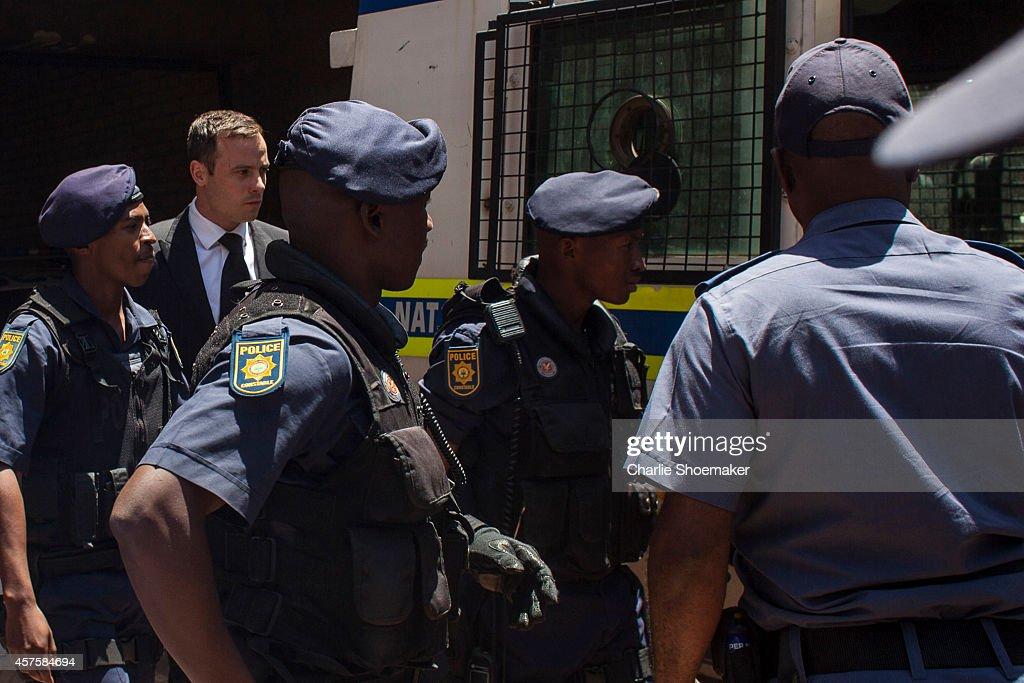 Oscar Pistorius departs the North Gauteng High Court on October 21 2014 in Pretoria South Africa Pistorius has been sentenced to the maximum term of...