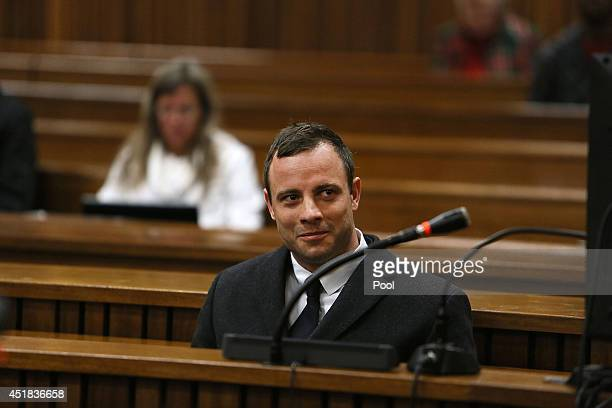 Oscar Pistorius during his murder trial at the Pretoria High Court on July 8 in Pretoria South Africa Oscar Pistorius stands accused of the murder of...