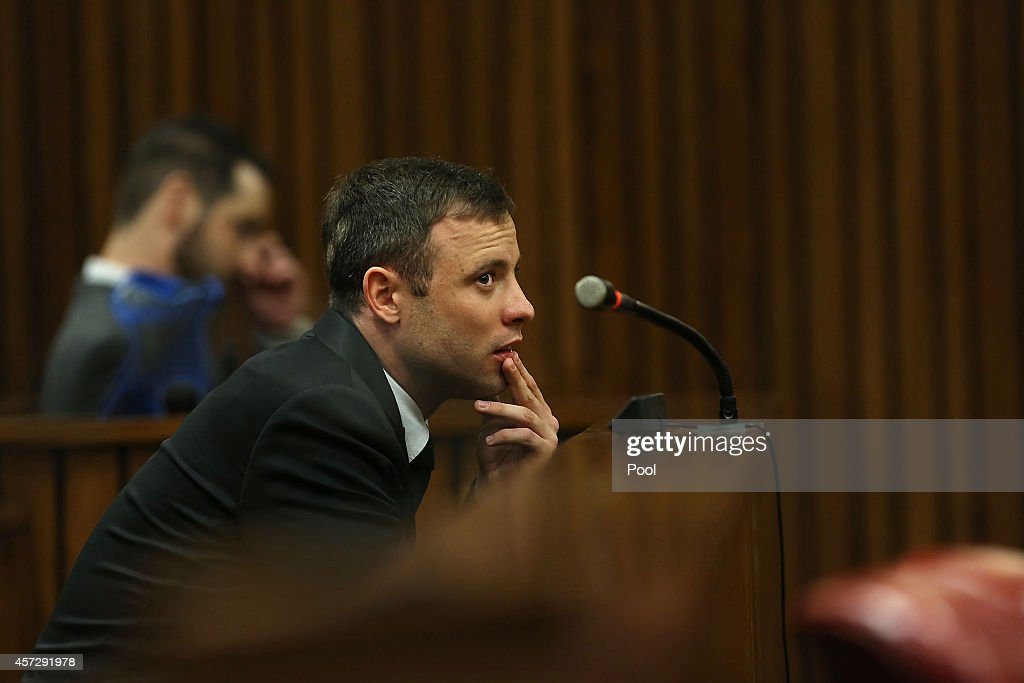 Oscar Pistorius during his sentencing in the Pretoria High Court for sentencing in his murder trial on October 16 in Pretoria South Africa Judge...