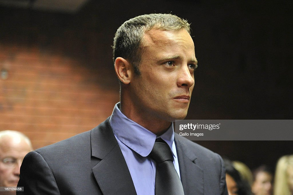 Oscar Pistorius in court during his bail application on February 19, 2013 in the Pretoria Magistrate court in Pretoria, South Africa. Oscar Pistorius, who has been charged with the murder after allegedly shooting dead his girlfriend Reeva Steenkamp at his home in Silver Woods last Thursday, is appearing in court today for his bail hearing.