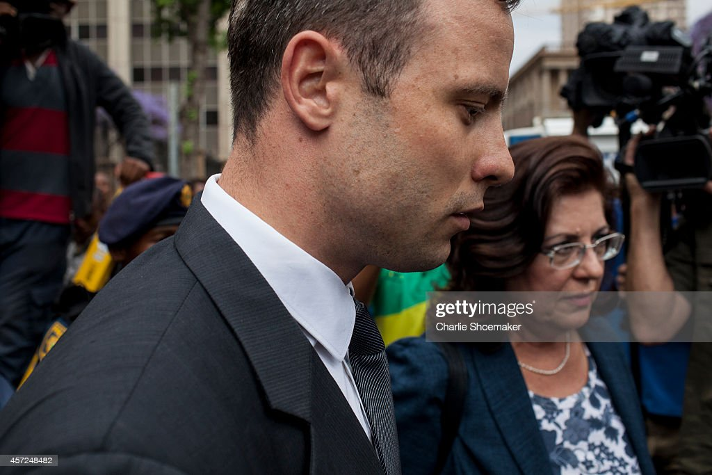 Oscar Pistorius leaves North Gauteng High Court following the third day of sentencing on October 15 2014 in Pretoria South Africa Pistorius will be...