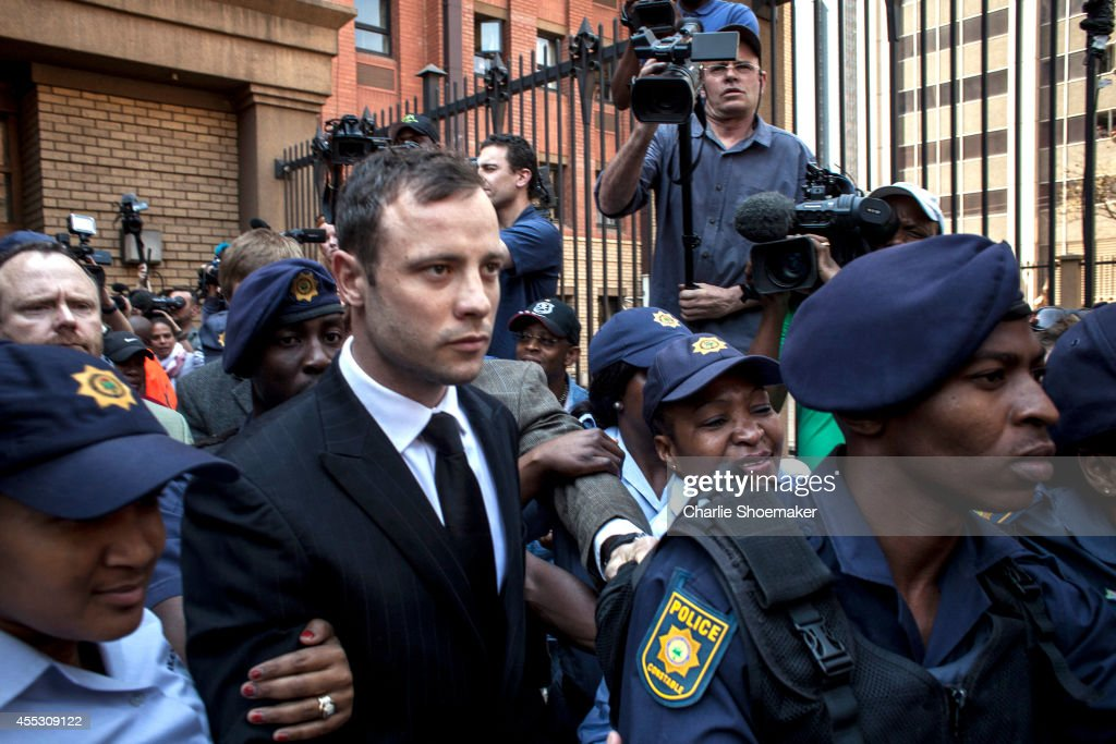 Oscar Pistorius leaves on bail from the North Gauteng High Court on September 12 2014 in Pretoria South Africa South African Judge Thokosile Masipa...