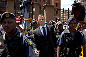 Oscar Pistorius leaves the North Gauteng High Court after the fifth day of sentencing on October 17 2014 in Pretoria South Africa The defence and the...