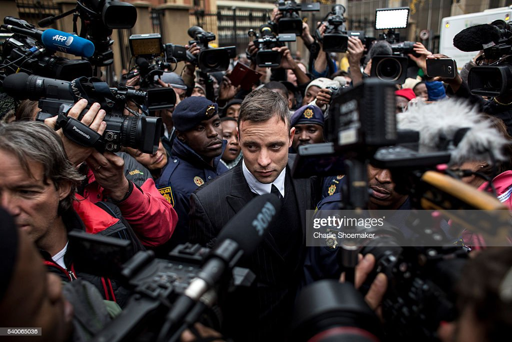Oscar Pistorius leaves the North Gauteng High Court on June 14 2016 in Pretoria South Africa Having had his conviction upgraded to murder in December...