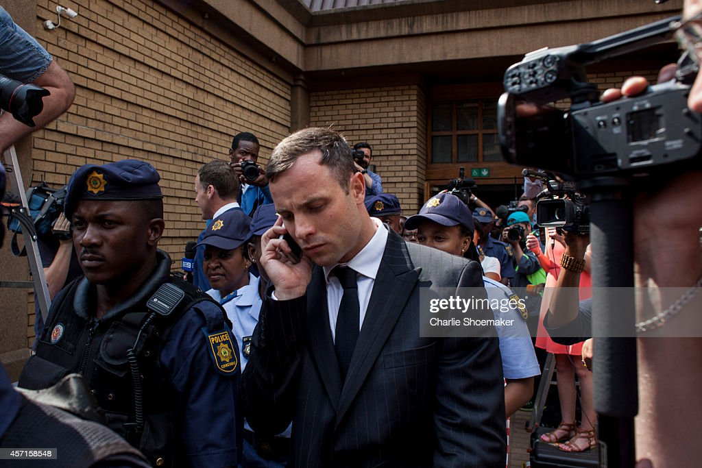 Oscar Pistorius leavesNorth Gauteng High Court on October 13 2014 in Pretoria South Africa Pistorius will be sentenced having been found guilty of...