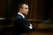 Oscar Pistorius listens to evidence in the Pretoria High Court on April 15 in Pretoria South Africa Oscar Pistorius stands accused of the murder of...