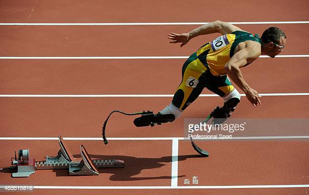 Oscar Pistorius of South Africa at the start of the Men's 400m Round 1 Heats on Day 8 of the London 2012 Olympic Games at Olympic Stadium on August 4...
