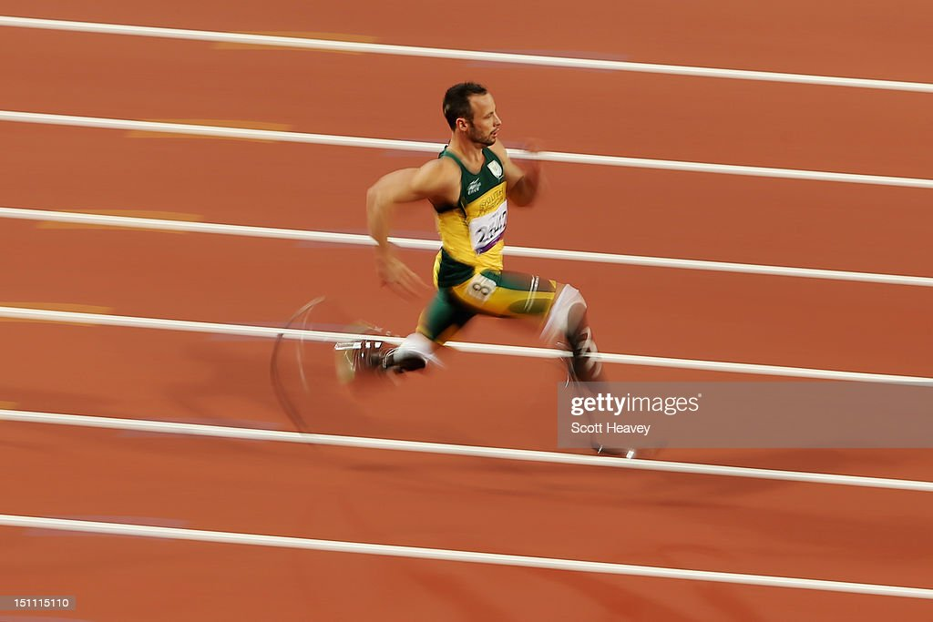 <a gi-track='captionPersonalityLinkClicked' href=/galleries/search?phrase=Oscar+Pistorius&family=editorial&specificpeople=224406 ng-click='$event.stopPropagation()'>Oscar Pistorius</a> of South Africa breaks the world record with a time of 21.30 as he competes in the Men's 200m - T44 heats on day 3 of the London 2012 Paralympic Games at Olympic Stadium on September 1, 2012 in London, England.