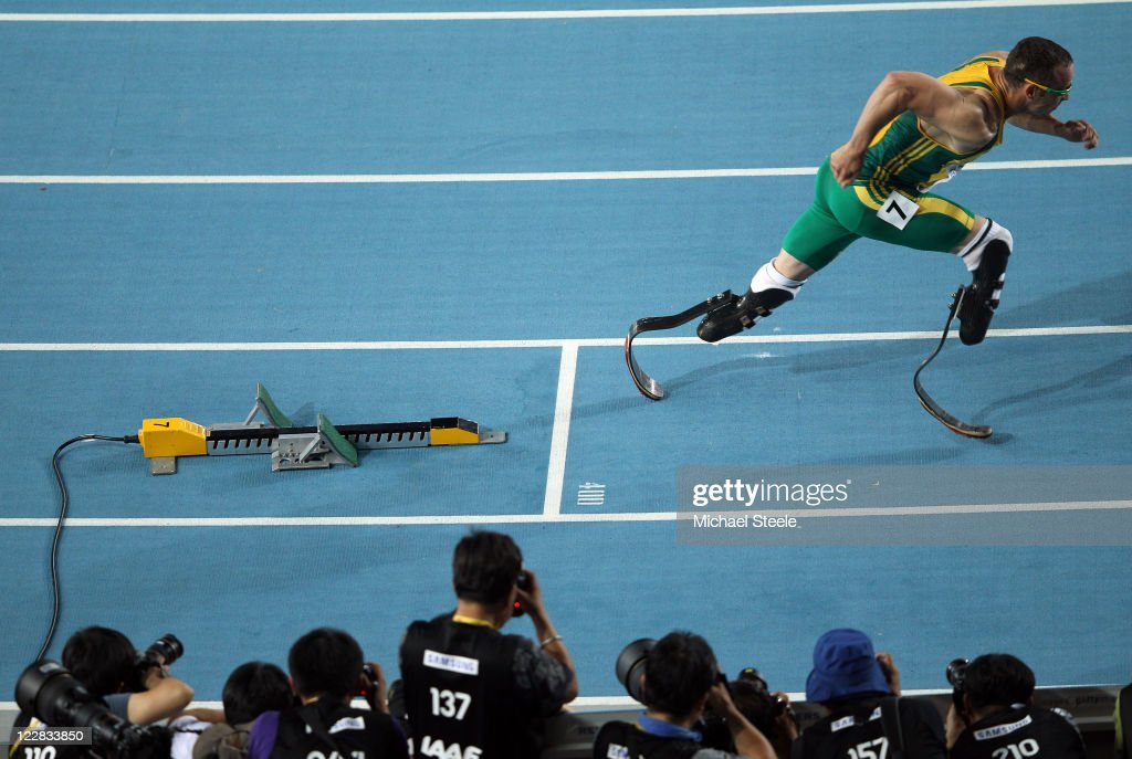 <a gi-track='captionPersonalityLinkClicked' href=/galleries/search?phrase=Oscar+Pistorius&family=editorial&specificpeople=224406 ng-click='$event.stopPropagation()'>Oscar Pistorius</a> of South Africa bursts out of the blocks in front of photographers at the start of the men's 400 metres semi finals during day three of the 13th IAAF World Athletics Championships at the Daegu Stadium on August 29, 2011 in Daegu, South Korea.