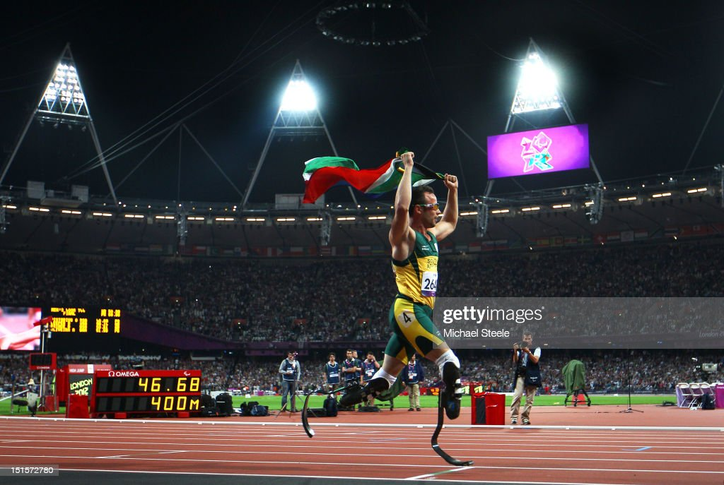 <a gi-track='captionPersonalityLinkClicked' href=/galleries/search?phrase=Oscar+Pistorius&family=editorial&specificpeople=224406 ng-click='$event.stopPropagation()'>Oscar Pistorius</a> of South Africa celebrates as he wins gold in the Men's 400m T44 Final on day 10 of the London 2012 Paralympic Games at Olympic Stadium on September 8, 2012 in London, England.