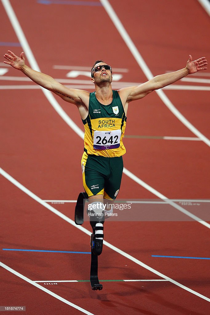 <a gi-track='captionPersonalityLinkClicked' href=/galleries/search?phrase=Oscar+Pistorius&family=editorial&specificpeople=224406 ng-click='$event.stopPropagation()'>Oscar Pistorius</a> of South Africa celebrates winning the Men's 400m ¿ T44 final on day 10 of the London 2012 Paralympic Games at Olympic Stadium on September 8, 2012 in London, England.