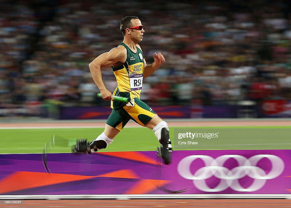 <a gi-track='captionPersonalityLinkClicked' href=/galleries/search?phrase=Oscar+Pistorius&family=editorial&specificpeople=224406 ng-click='$event.stopPropagation()'>Oscar Pistorius</a> of South Africa competes during the Men's 4 x 400m Relay Final on Day 14 of the London 2012 Olympic Games at Olympic Stadium on August 10, 2012 in London, England.