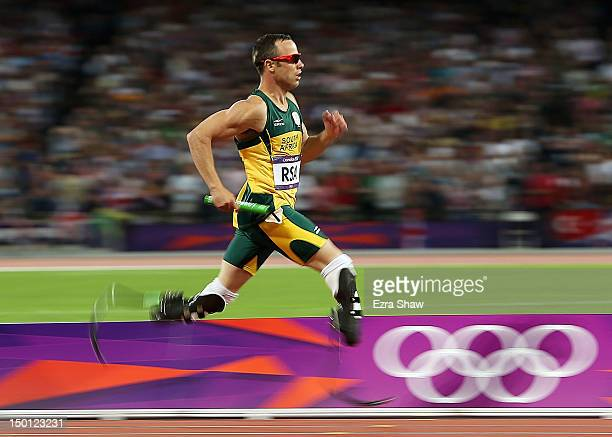 Oscar Pistorius of South Africa competes during the Men's 4 x 400m Relay Final on Day 14 of the London 2012 Olympic Games at Olympic Stadium on...