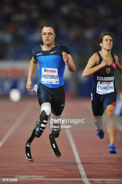 Oscar Pistorius of South Africa competes in the Mens 400m B Race during the IAAF Golden Gala at the Stadio Olimpico on July 11 2008 in Rome Italy