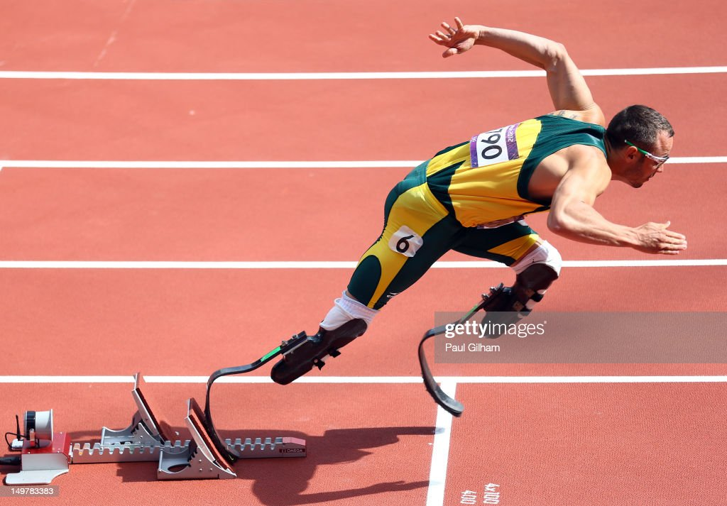 <a gi-track='captionPersonalityLinkClicked' href=/galleries/search?phrase=Oscar+Pistorius&family=editorial&specificpeople=224406 ng-click='$event.stopPropagation()'>Oscar Pistorius</a> of South Africa competes in the Men's 400m Round 1 Heats on Day 8 of the London 2012 Olympic Games at Olympic Stadium on August 4, 2012 in London, England.