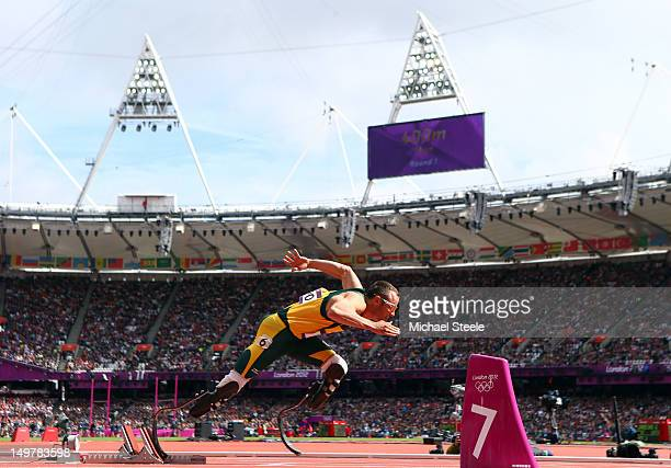 Oscar Pistorius of South Africa competes in the Men's 400m Round 1 Heats on Day 8 of the London 2012 Olympic Games at Olympic Stadium on August 4...