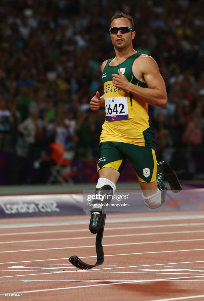<a gi-track='captionPersonalityLinkClicked' href=/galleries/search?phrase=Oscar+Pistorius&family=editorial&specificpeople=224406 ng-click='$event.stopPropagation()'>Oscar Pistorius</a> of South Africa competes in the Men's 400m T44 heatson day 9 of the London 2012 Paralympic Games at Olympic Stadium on September 7, 2012 in London, England.