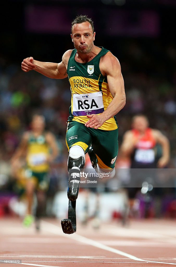 <a gi-track='captionPersonalityLinkClicked' href=/galleries/search?phrase=Oscar+Pistorius&family=editorial&specificpeople=224406 ng-click='$event.stopPropagation()'>Oscar Pistorius</a> of South Africa crosses the line to win gold for this team in the Men's 4x100m relay T42/T46 Final on day 7 of the London 2012 Paralympic Games at Olympic Stadium on September 5, 2012 in London, England.