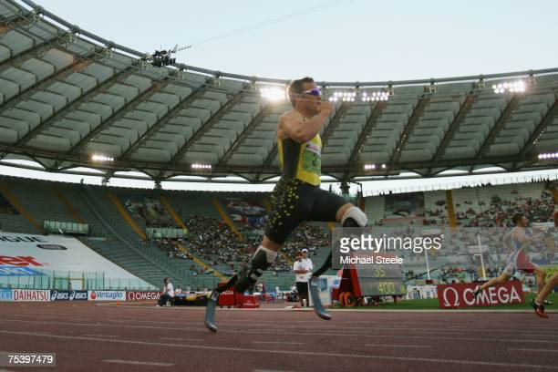 Oscar Pistorius of South Africa during the men's 400m 'B' race at the IAAF Golden Gala meeting at the Olympic Stadium on July 132007 in RomeItaly