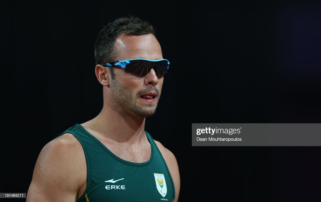 <a gi-track='captionPersonalityLinkClicked' href=/galleries/search?phrase=Oscar+Pistorius&family=editorial&specificpeople=224406 ng-click='$event.stopPropagation()'>Oscar Pistorius</a> of South Africa looks on prior to the Men's 400m T44 heatson day 9 of the London 2012 Paralympic Games at Olympic Stadium on September 7, 2012 in London, England.
